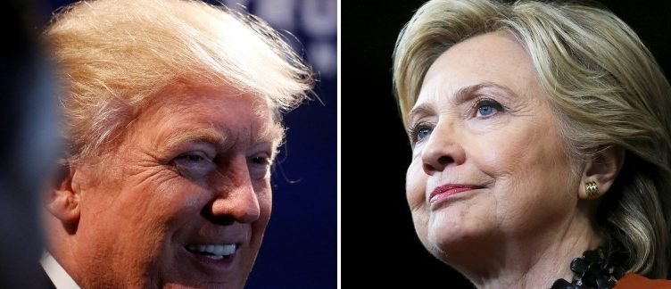 A combination photo shows U.S. Republican presidential nominee Donald Trump (L) at a campaign event in Charlotte, North Carolina, U.S. on October 26, 2016 and U.S. Democratic presidential candidate Hillary Clinton during a campaign rally in Winston-Salem, North Carolina, U.S. on October 27, 2016. REUTERS/Carlo Allegri (L)/Carlos Barria (R)/File Photos