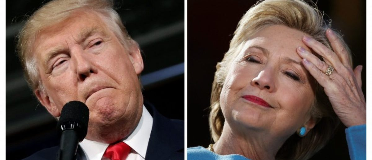 U.S. presidential candidates Donald Trump and Hillary Clinton attend campaign rallies in Ambridge, Pennsylvania, October 10, 2016 and Manchester, New Hampshire U.S., October 24, 2016. Left: REUTERS/Mike Segar Right: Carlos Barria/Files