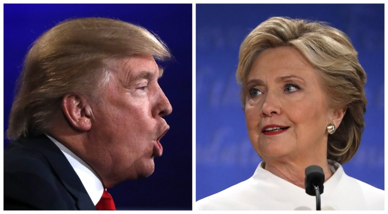 A combination photo shows Republican U.S. presidential nominee Donald Trump and Democratic presidential nominee Hillary Clinton during their third and final debate at UNLV in Las Vegas