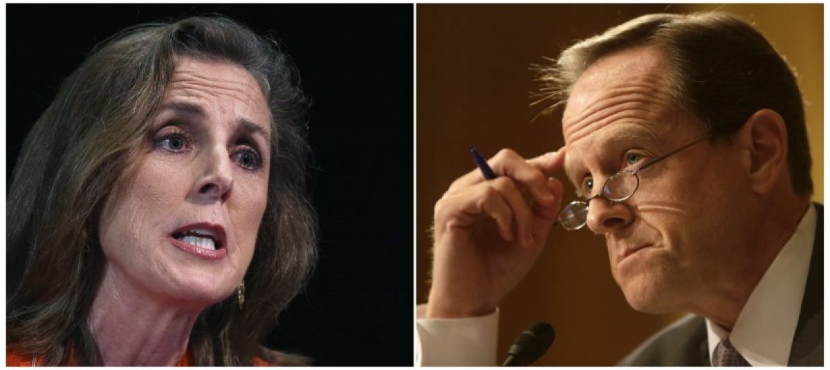 Katie McGinty (L) speaks on stage during a debate in Philadelphia, Pennsylvania, May 12, 2014 and Senator Pat Toomey (R-PA) questions witnesses at the Senate Finance Committee in Washington May 21, 2013 in a comnbination of file photos. REUTERS/Mark Makela/Gary Cameron/Files