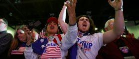 Supporters cheer during a campaign rally by Republican presidential nominee Donald Trump in Scranton, Pennsylvania, U.S. November 7, 2016. REUTERS/Carlo Allegri
