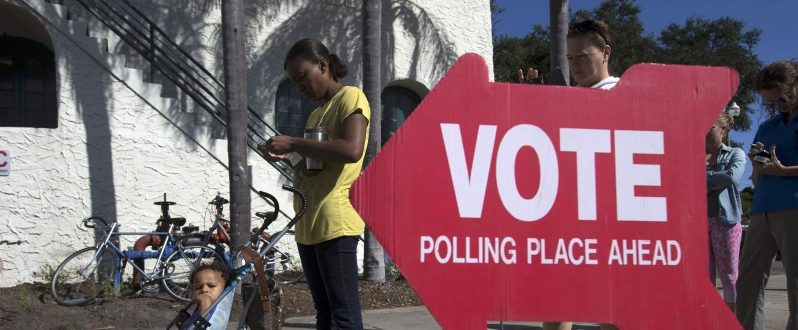 Voters head to the polls during the U.S. presidential election in St. Petersburg, Florida