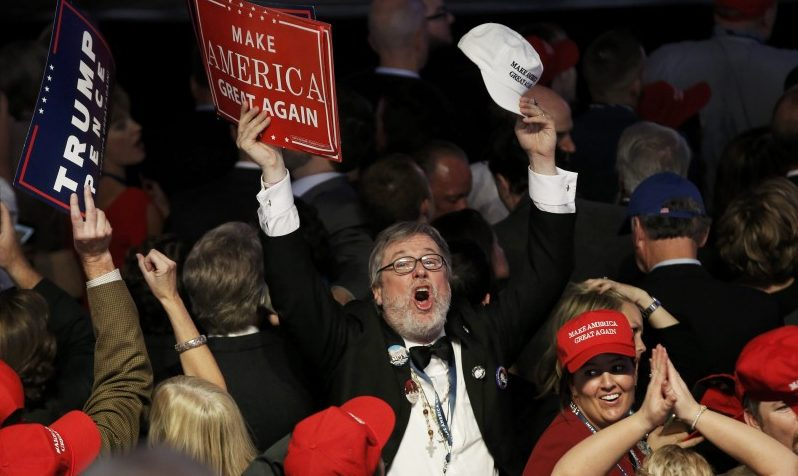 A supporter celebrates as returns come in for Republican U.S. presidential nominee Donald Trump during an election night rally in Manhattan, New York, U.S., November 8, 2016. REUTERS/Mike Segar
