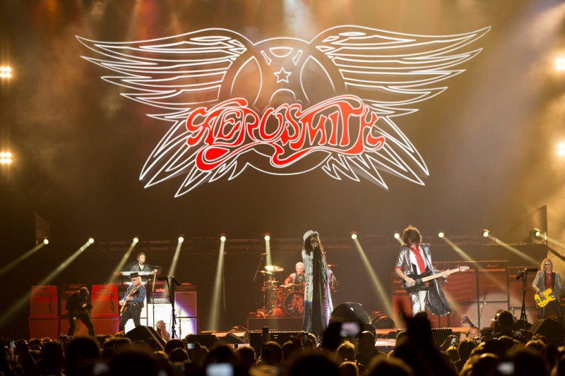 "Rock band Aerosmith performs during the ""Aerosmith: Let Rock Rule"" tour at The Forum in Inglewood, California July 30, 2014. REUTERS/Mario Anzuoni/File Photo"