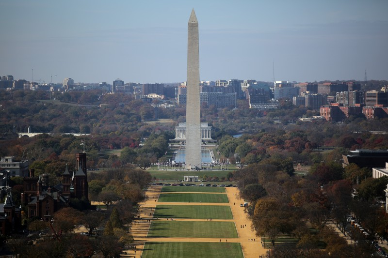 A general view of the National Mall is seen from the rebuilt cast-iron dome. REUTERS/Carlos Barria