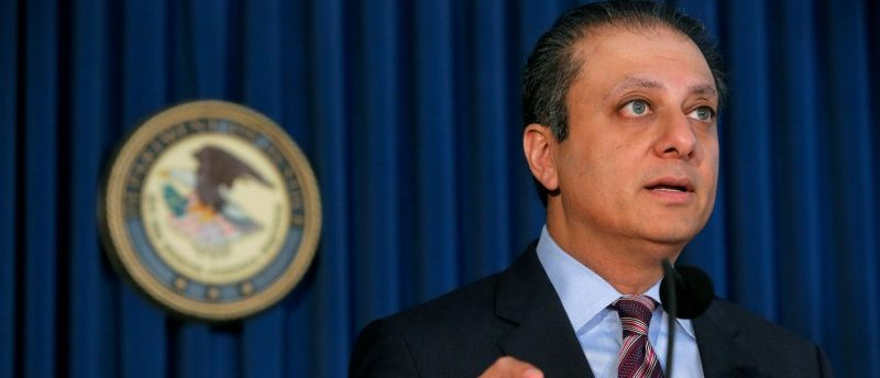 U.S. Attorney for the Southern District of New York Preet Bharara speaks during a news conference regarding the arrests of former Valeant Pharmaceuticals Inc. executive Gary Tanner and former Chief Executive Officer of Philidor Rx Services LLC Andrew Davenport for allegedly engaging in a multi-million dollar fraud and kickback scheme in Manhattan, New York, U.S., November 17, 2016. REUTERS/Andrew Kelly