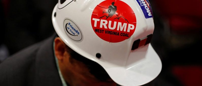 A West Virginia delegate wears a Trump sticker on his hard hat during the second day of the Republican National Convention in Cleveland, Ohio, U.S. July 19, 2016. REUTERS/Aaron P. Bernstein/File Photo