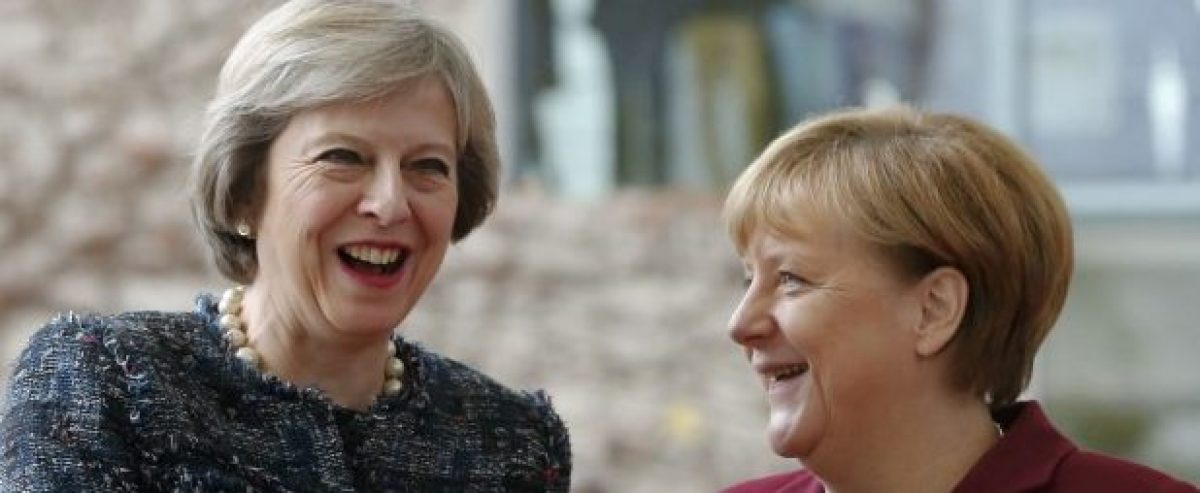 Britain's Prime Minister Theresa May is welcomed by German Chancellor Angela Merkel upon her arrival at the chancellery in Berlin, Germany, November 18, 2016. REUTERS/Fabrizio Bensch