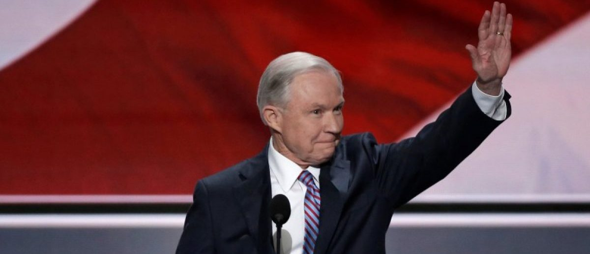U.S. Senator Jeff Sessions (R-AL) waves to the crowd as he speaks at the Republican National Convention in Cleveland, Ohio, U.S. July 18, 2016. REUTERS/Mike Segar