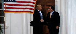 U.S. President-elect Donald Trump shakes hands with New Jersey Governor Chris Christie after their meeting at Trump National Golf Club in Bedminster