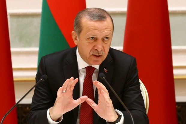 Turkish President Erdogan speaks during signing ceremony with Belarussian President Lukashenko in Minsk