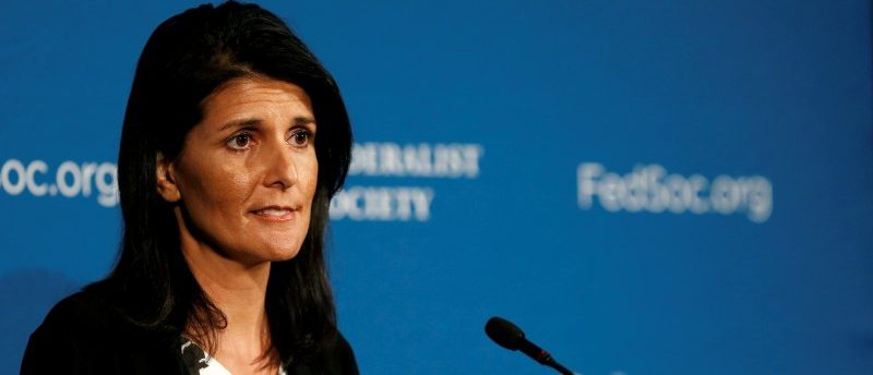 File photo of Republican South Carolina Governor Haley delivering remarks at  Federalist Society 2016 National Lawyers Convention in Washington