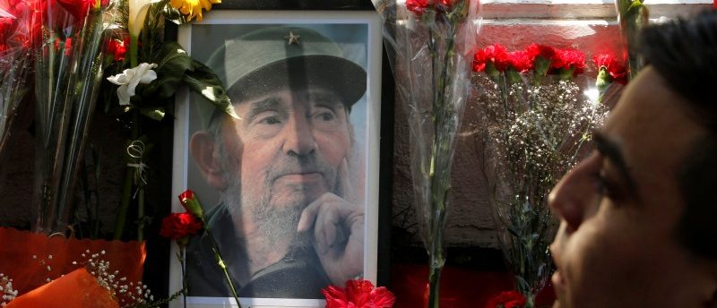 A picture of the late Cuban revolutionary leader Fidel Castro is on display outside the Cuban embassy in Chile, in Santiago, November 26, 2016. REUTERS/Carlos Vera