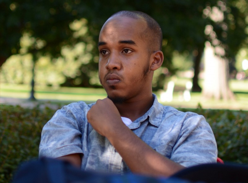 Abdul Razak Artan, a third-year student in logistics management, sits on the Oval in an August 2016 photo provided by The Lantern, student newspaper of Ohio State University in Columbus, Ohio, U.S. on November 28, 2016. Courtesy of Kevin Stankiewicz for The Lantern/Handout via REUTERS