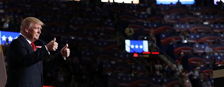 Donald Trump at the 2016 RNC. Joe Raedle/Getty Images.