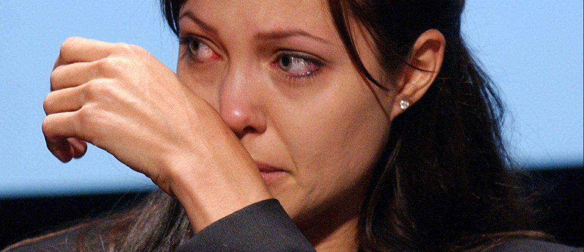 Angelina Jolie crying