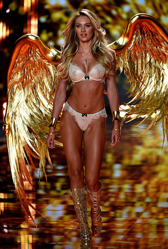 Model Candice Swanepoel walks the runway at the annual Victoria's Secret fashion show at Earls Court in London, England. (Photo by Pascal Le Segretain/Getty Images)