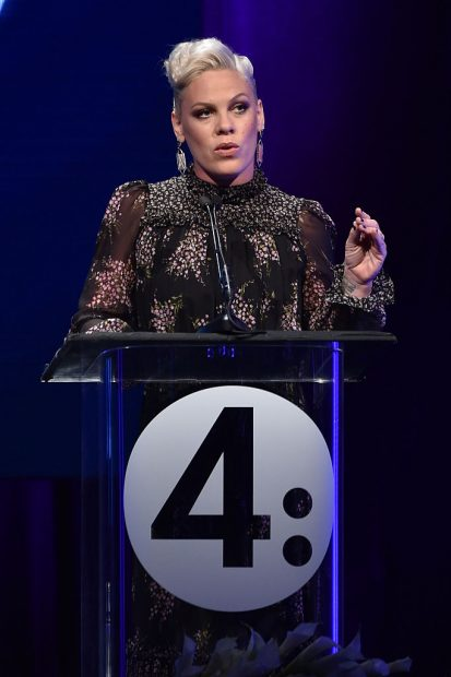 Honoree Pink accepts the Music Visionary Award onstage at the 2nd Annual unite4:humanity presented by ALCATEL ONETOUCH at the Beverly Hilton Hotel on February 19, 2015 in Los Angeles, California. (Photo by Kevin Winter/Getty Images for Variety)