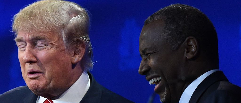 Donald Trump and Ben Carson share a laugh (Getty Images)