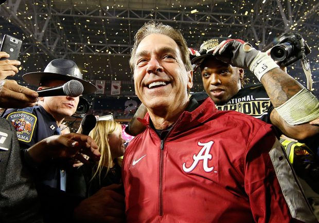 Nick Saban of the Alabama Crimson Tide celebrates after defeating the Clemson Tigers in the 2016 College Football Playoff National Championship. (Photo by Christian Petersen/Getty Images)