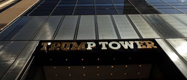 Trump Tower stands along 5th Avenue in Manhattan as police stand guard outside following an earlier protest against Republican presidential candidate Donald Trump in front of the building on March 12, 2016 in New York City. (Photo by Spencer Platt/Getty Images)