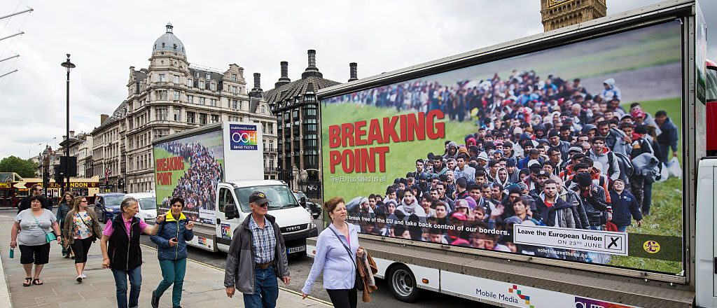 LONDON, ENGLAND - JUNE 16: Vans displaying the United Kingdom Independence Party's new EU referendum campaign poster are driven around Parliament Square on June 16, 2016 in London, England. UKIP today launched their new advert as part of their campaign to leave the European Union ahead of the EU referendum on the 23rd of June. (Photo by Jack Taylor/Getty Images)