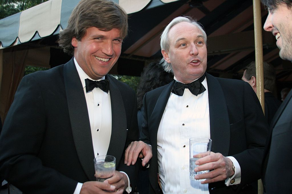 Tucker Carlson and Christopher Buckley attend the Creative Coalition and The Atlantic Media Company reception on April 29, 2006 in Washington, DC (Getty Images)