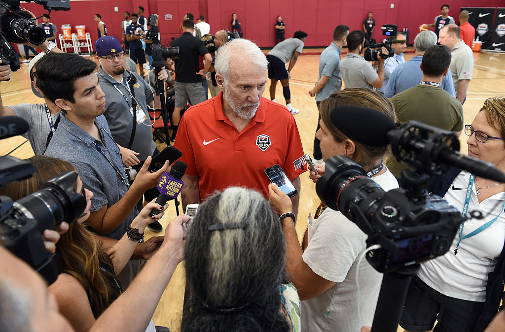 Head coach Gregg Popovich of the 2017-20 USA National Team is interviewed during a practice session at the Mendenhall Center on July 20, 2016 in Las Vegas, Nevada. (Photo by Ethan Miller/Getty Images)