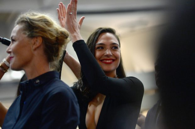 SAN DIEGO, CA - JULY 23: Actresses Connie Nielsen (L) and Gal Gadot from the 2017 feature film Wonder Woman attend an autograph signing session for fans in DC's 2016 San Diego Comic-Con booth at San Diego Convention Center on July 23, 2016 in San Diego, California. at San Diego Convention Center on July 23, 2016 in San Diego, California. (Photo by Charley Gallay/Getty Images for DC Entertainment)