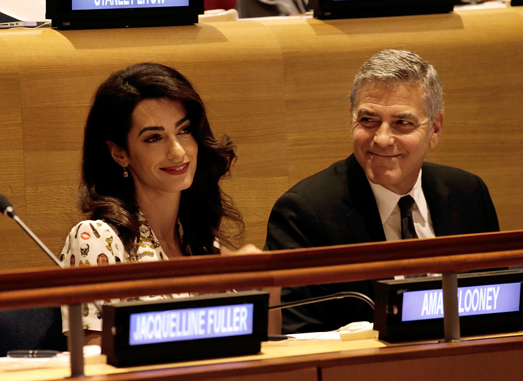 Actor George Clooney and wife Amal Clooney attend a Leaders Summit for Refugees during the United Nations 71st session of the General Debate at the United Nations General Assembly. (Photo by Peter Foley - Pool/Getty Images)