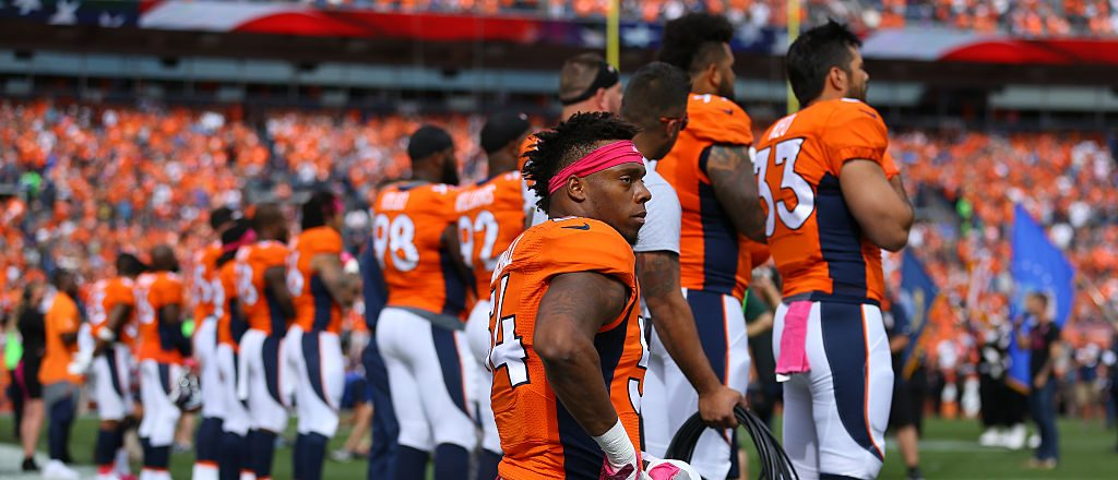 DENVER, CO - OCTOBER 9: Inside linebacker Brandon Marshall #54 of the Denver Broncos on a knee during the National Anthem of the game against the Atlanta Falcons at Sports Authority Field at Mile High on October 9, 2016 in Denver, Colorado. (Photo by Justin Edmonds/Getty Images)