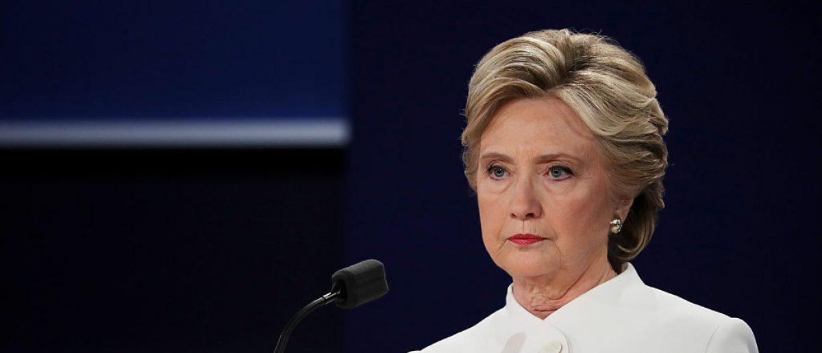 Democratic presidential nominee former Secretary of State Hillary Clinton pauses during the third presidential debate. (Photo by Chip Somodevilla/Getty Images)