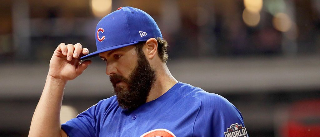 Jake Arrieta #49 of the Chicago Cubs reacts after striking out Tyler Naquin #30 of the Cleveland Indians (not pictured) with the bases loaded during the fourth inning in Game Six of the 2016 World Series at Progressive Field on November 1, 2016 in Cleveland, Ohio. (Photo by Jamie Squire/Getty Images)