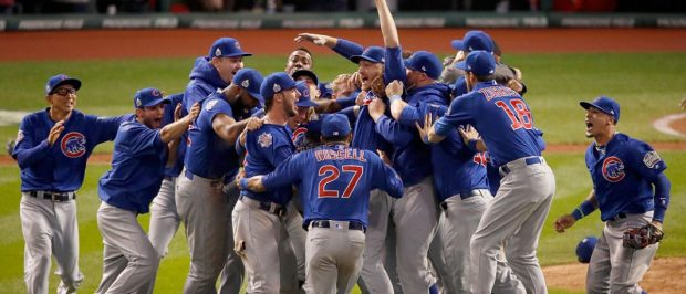 The Chicago Cubs celebrate after defeating the Cleveland Indians 8-7 in Game Seven of the 2016 World Series at Progressive Field on November 2, 2016 in Cleveland, Ohio. The Cubs win their first World Series in 108 years. (Photo by Gregory Shamus/Getty Images)
