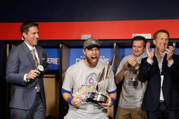 CLEVELAND, OH - NOVEMBER 02: Ben Zobrist #18 of the Chicago Cubs celebrates with the 2016 World Series Most Valuable Player (MVP) Award after the Chicago Cubs defeated the Cleveland Indians 8-7 in Game Seven of the 2016 World Series at Progressive Field on November 2, 2016 in Cleveland, Ohio. The Cubs win their first World Series in 108 years. (Photo by David J. Phillip-Pool/Getty Images)