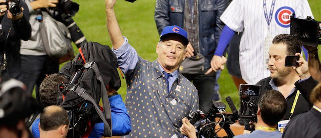 CLEVELAND, OH - NOVEMBER 02: Actor Bill Murray reacts on the field after the Chicago Cubs defeated the Cleveland Indians 8-7 in Game Seven of the 2016 World Series at Progressive Field on November 2, 2016 in Cleveland, Ohio. The Cubs win their first World Series in 108 years. (Photo by Jamie Squire/Getty Images)