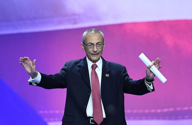 Democratic presidential nominee Hillary Clinton's campaign manger John Podesta gestures before speaking during election night at the Jacob K. Javits Convention Center in New York on November 9, 2016. (JEWEL SAMAD/AFP/Getty Images)