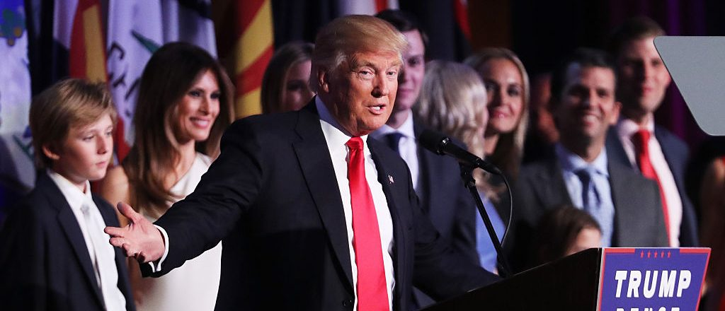 Donald Trump speaks at the New York Hilton Midtown in the early morning hours of November 9, 2016 in New York City (Getty Images)
