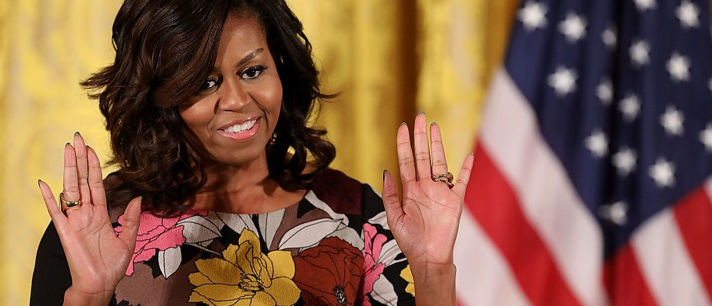 WASHINGTON, DC - NOVEMBER 14: U.S. first lady Michelle Obama delivers opening remarks during the final Joining Forces event in the East Room of the White House November 14, 2016 in Washington, DC. Obama hosted the event to celebrate the successes and share best practices so to continue the work of the Mayors Challenge to End Veteran Homelessness. (Photo by Chip Somodevilla/Getty Images)