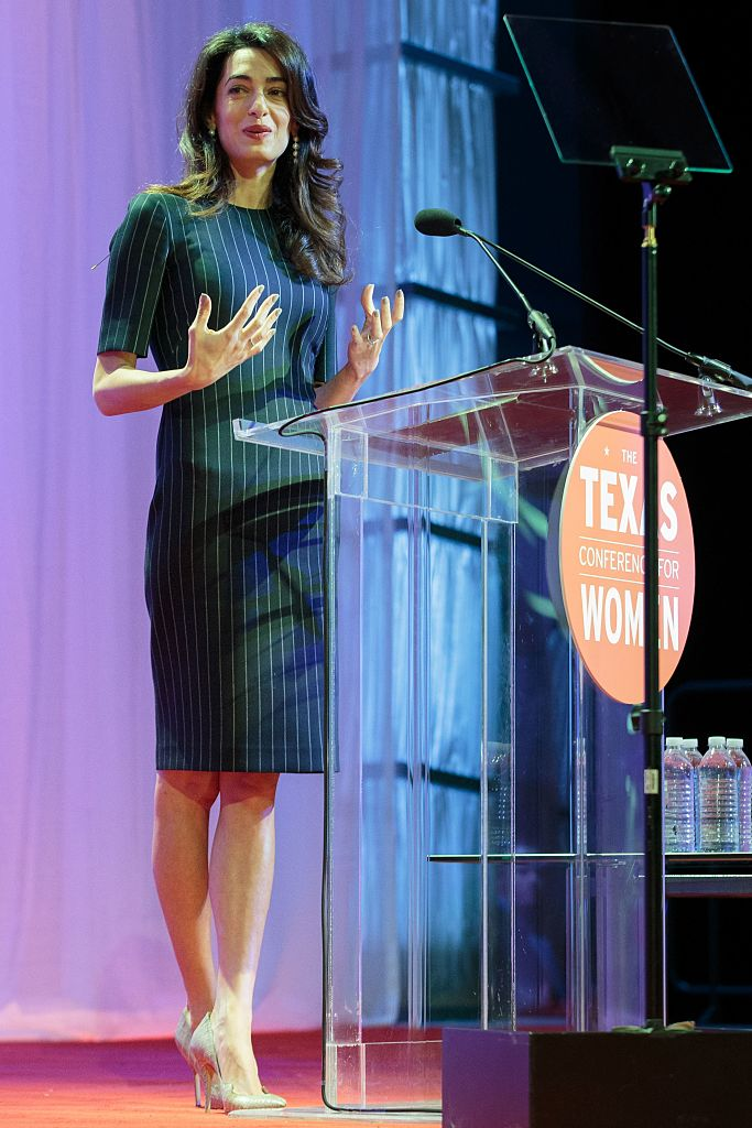 British human rights lawyer Amal Clooney addresses the Texas Conference for Women. (Photo credit: SUZANNE CORDEIRO/AFP/Getty Images)