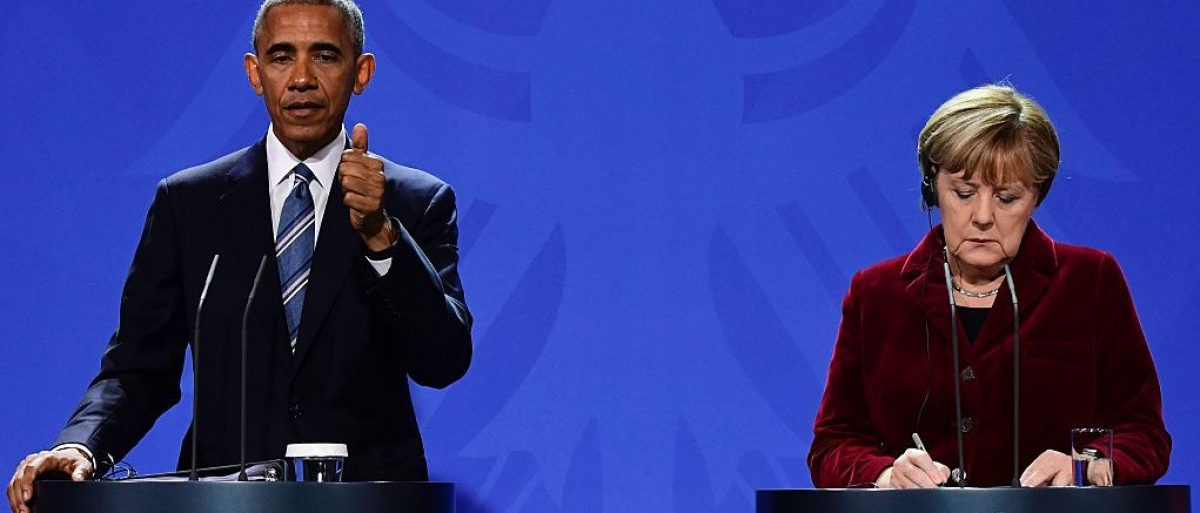 Barack Obama and Angela Merkel speak at a joint press conference in Berlin (Getty Images)