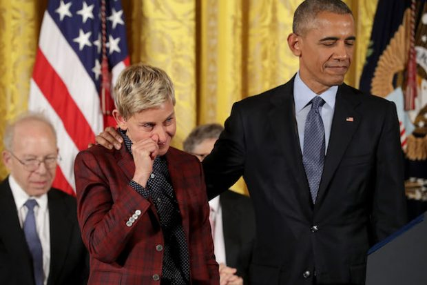 WASHINGTON, DC - NOVEMBER 22: Comedian and talk show host Ellen DeGeneres wipes away tears as her citation is read before being awarded the Presidential Medal of Freedom by U.S. President Barack Obama during a ceremony in the East Room of the White House November 22, 2016 in Washington, DC. Obama presented the medal to 19 living and two posthumous pioneers in science, sports, public service, human rights, politics and the arts. (Photo by Chip Somodevilla/Getty Images)