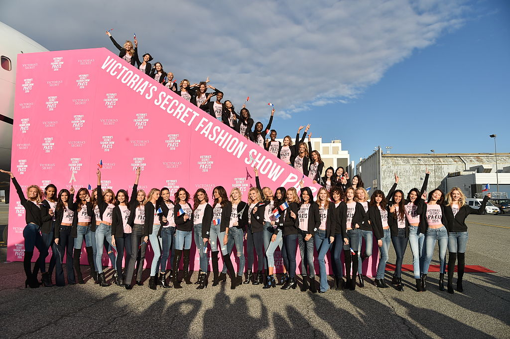 The Victoria's Secret models depart for Paris. (Photo by Mike Coppola/Getty Images for Victoria's Secret)