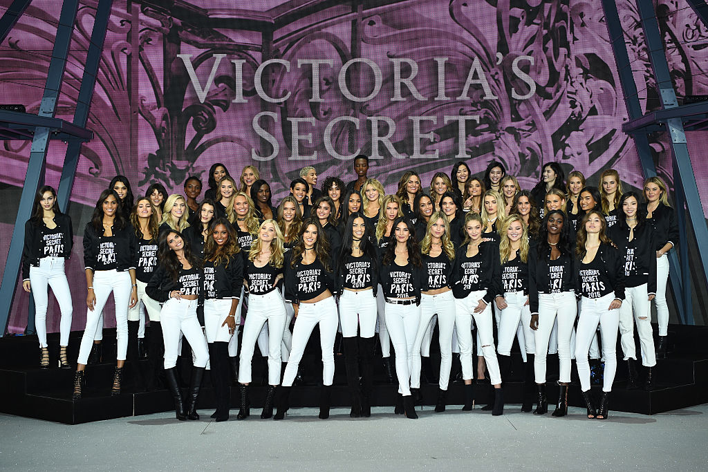 The Angels take the stage in Paris. (Photo by Dimitrios Kambouris/Getty Images for Victoria's Secret)