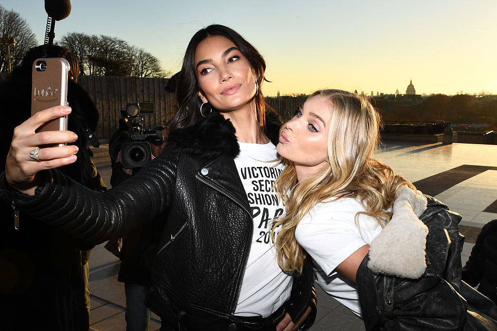 Lily Aldridge and Elsa Hosk take a selfie in front of the Eiffel Tower prior the 2016 Victoria's Secret Fashion Show. (Photo by Dimitrios Kambouris/Getty Images for Victoria's Secret)