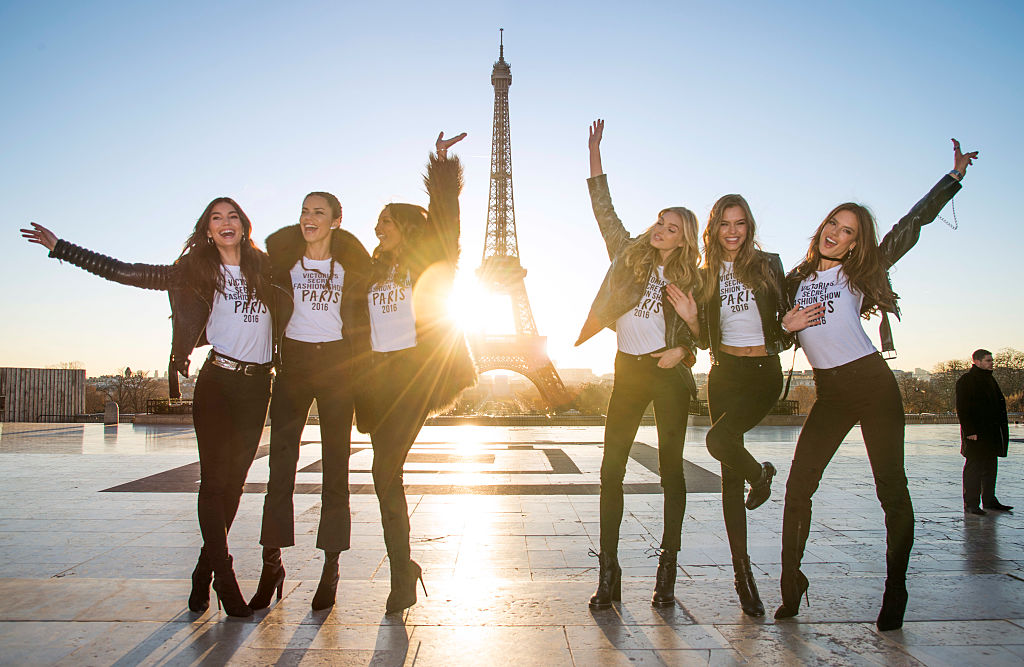 (L-R) Lily Aldridge, Adriana Lima, Jasmine Tookes, Elsa Hosk, Josephine Skriver and Alessandra Ambrosio attend a photocall for the Victoria's Secret Angels ahead of the annual fashion show at The Eiffel Tower. (Photo by Pascal Le Segretain/Getty Images for Victoria's Secret)