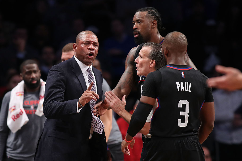Head coach Doc Rivers of the Los Angeles Clippers argues with referee Ken Mauer after a technical foul call. (Photo by Michael Reaves/Getty Images)