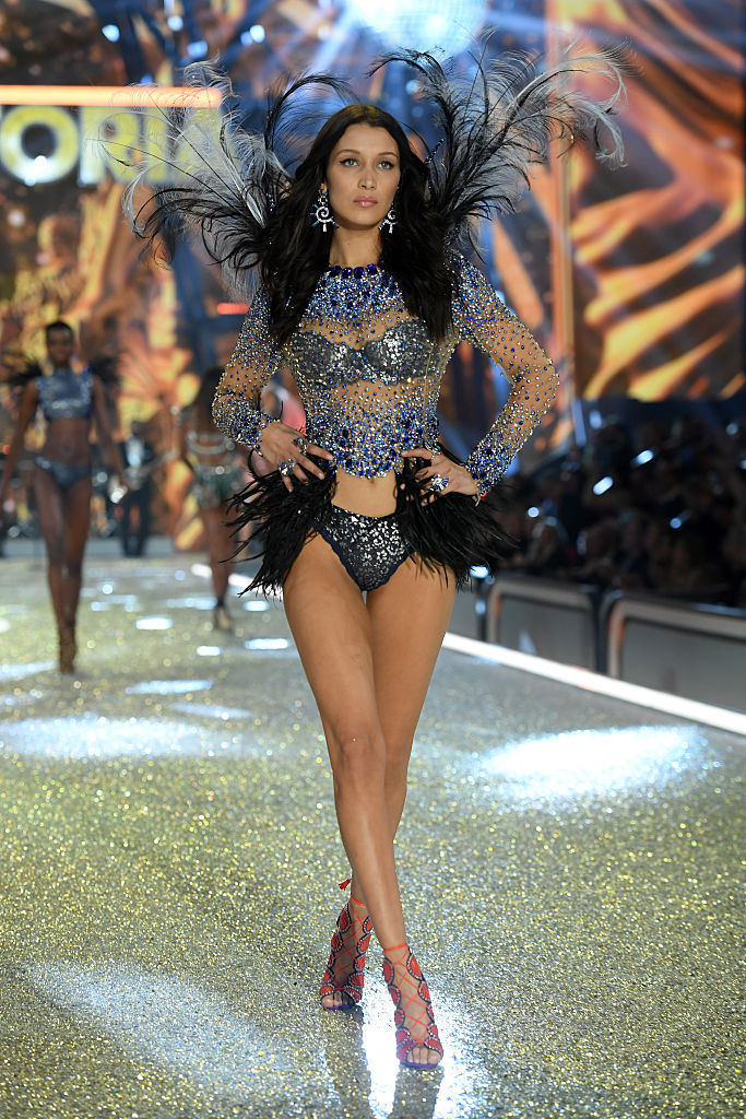 Bella Hadid takes her first steps on the Victoria's Secret Fashion Show runway. (Photo by Dimitrios Kambouris/Getty Images for Victoria's Secret)