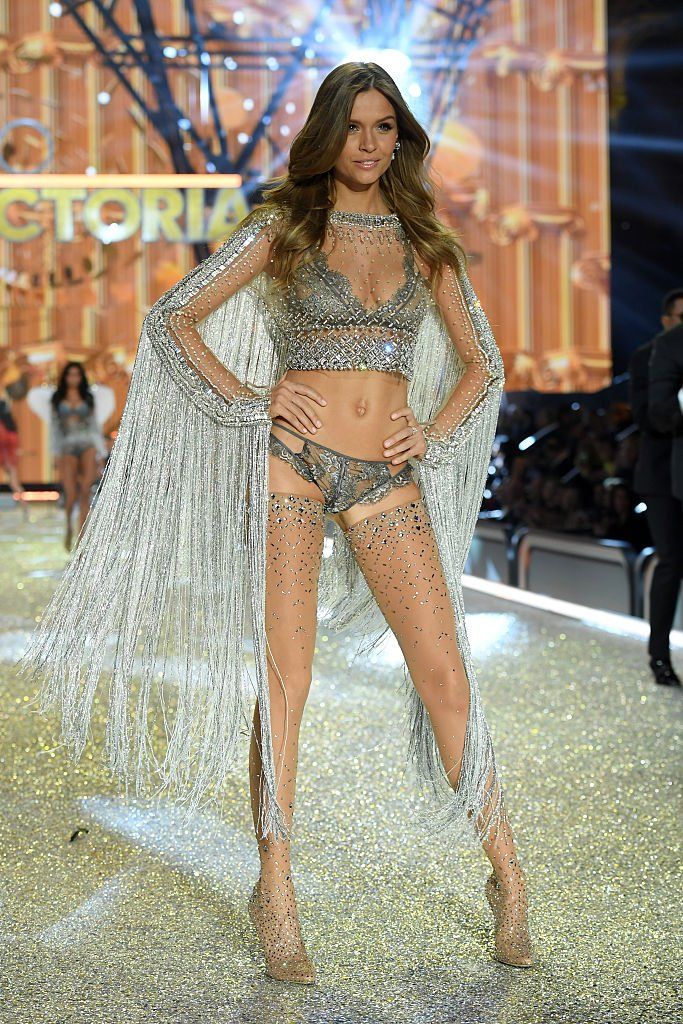 Josephine Skriver hits the runway wearing the Swarovski outfit. (Photo by Dimitrios Kambouris/Getty Images for Victoria's Secret)