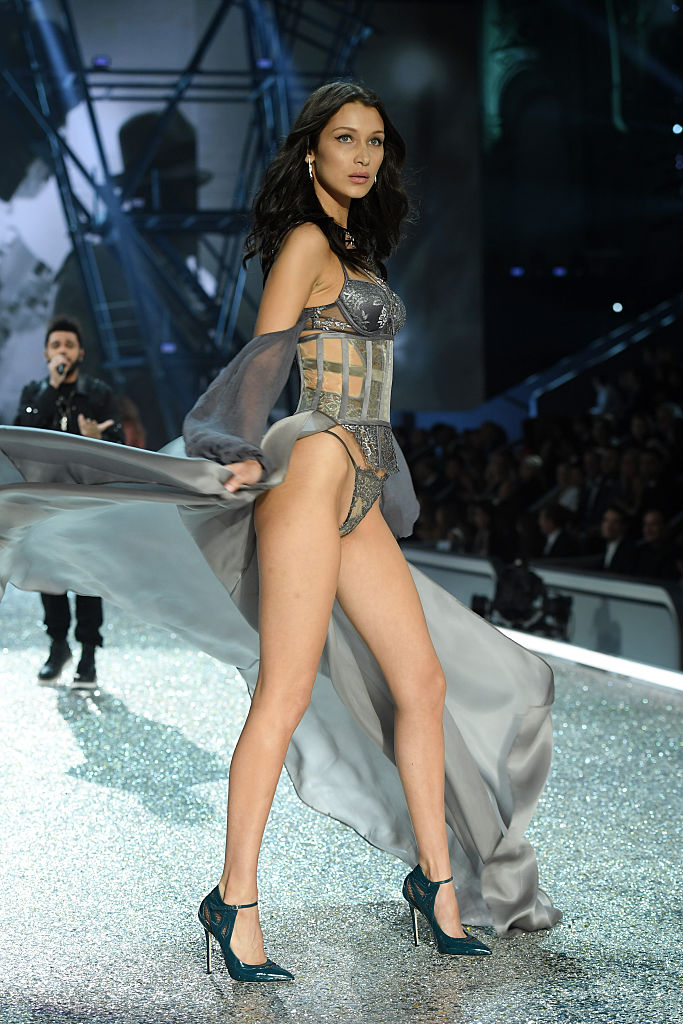 Bella Hadid hits the end of the runway with style. (Photo by Dimitrios Kambouris/Getty Images for Victoria's Secret)